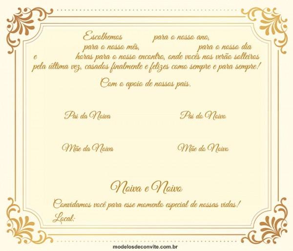 Convite De Casamento Tradicional  24 Modelos Clássicos! – Modelos