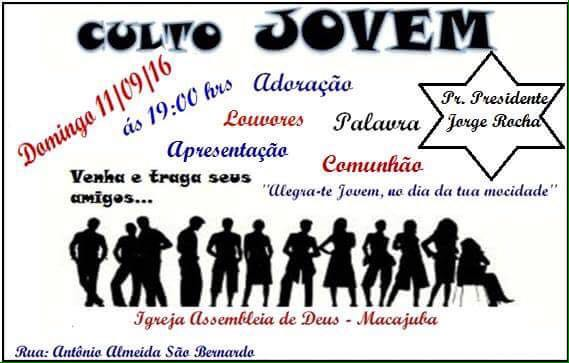 Convite Para Culto De Jovens Evangelicos