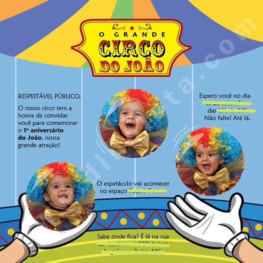 Convite João – 1 Ano  Tema  Circo