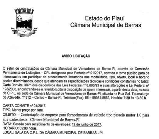 Câmara De Barras Faz Licitação Carta Convite Para Contratar