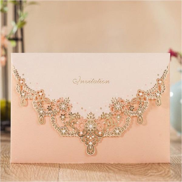 Cartões De Convite De Casamento De Luxo Coreano Padrão Ouro Rosa
