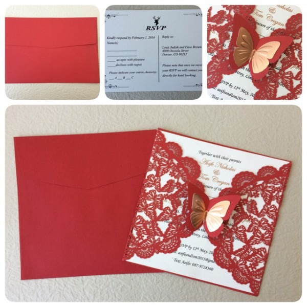 Cartões De Convite De Casamento Vermelho, Convites De Casamento De