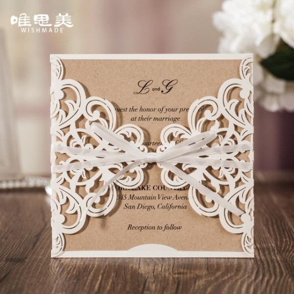 Cartões De Convite Wishmade Oca Flor De Renda Branca Elegante