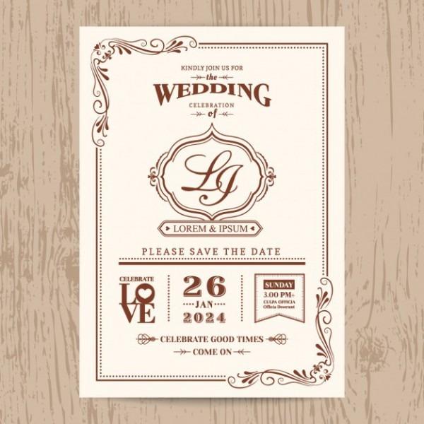 Cartão Clássico Convite De Casamento Do Vintage Com Borda De Cor