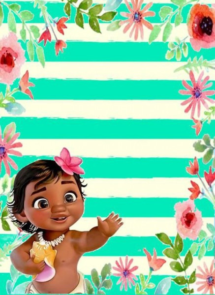 Decorando Minha Festa  Convite Moana Baby