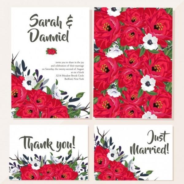 Cartão De Casamento Com Flores Vermelhas
