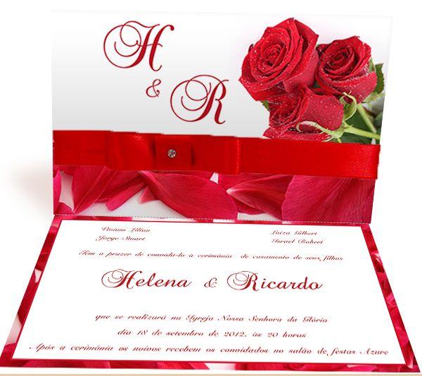 Convite De Casamento Rosa Vermelha Mod 1