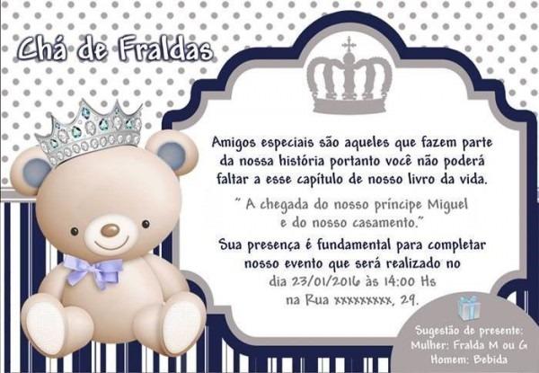 Convites De Chá De Fralda Para Editar – Modelos – Modelos De Convite