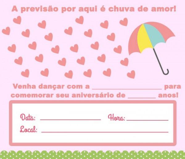 12 Convites De Chuva De Amor Para Imprimir – Modelos De Convite