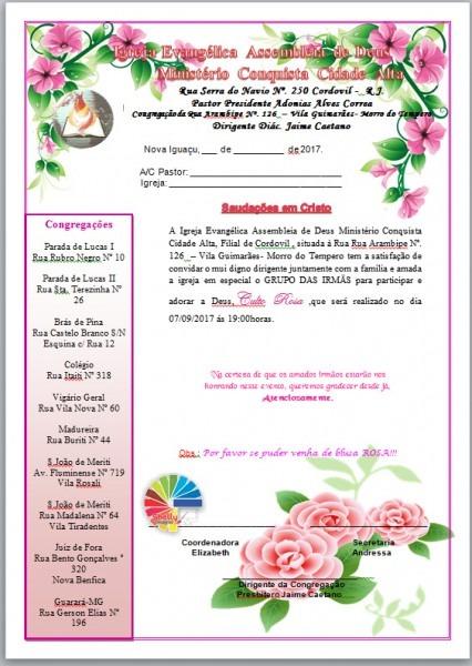 Shelly Designer  Carta Convite Igreja