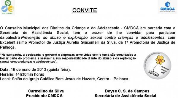 """Convite  Palestra """"prevenÇÃo Ao Abuso E ExploraÇÃo Sexual Contra"""