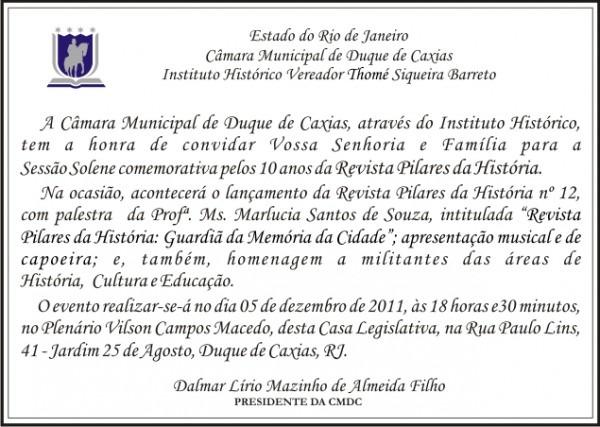 Convite A SessÃo Solene Comemorativa
