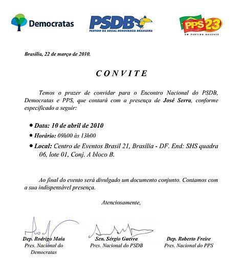 Psdb Distribui Convites Para Lançar Campanha De Serra