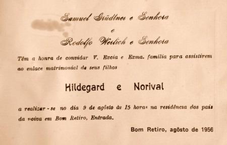 Convite De Casamento Norival Rodolpho Werlich E Hildegard Grüdtner