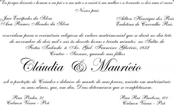 Convites Sugestão De Texto Casamento