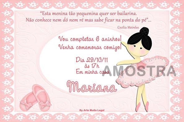 Modelo De Convite De Bailarina