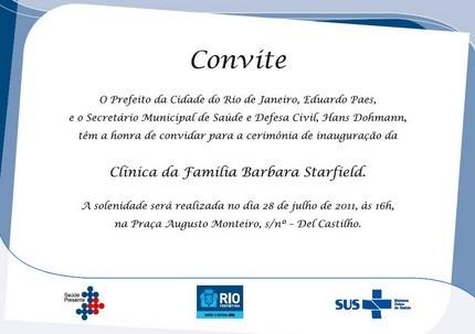 Convite Para Inauguração Da Clínica Da Família De Del Castilho