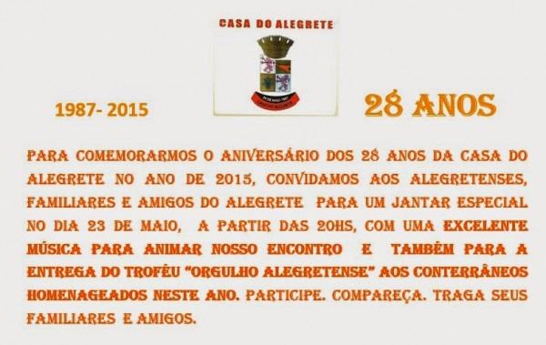 Aniversário Da Casa Do Alegrete – 28 Anos