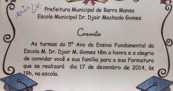 Djair Machado Gomes  Formatura Do 5º Ano
