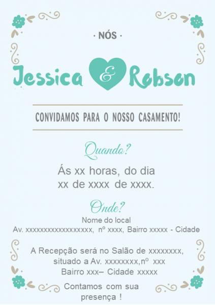 Convite De Casamento Para Download  Azul