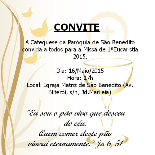 Catequese São Benedito  Convite!