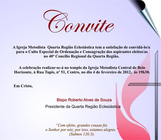 Igreja Metodista Em São Gabriel  Convite