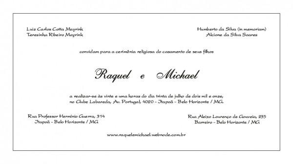 Convite    Casamento Raquel E Michael
