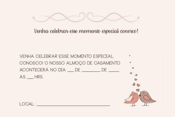 Convite Para Almoço De Casamento – Casamento Civil – Modelos De