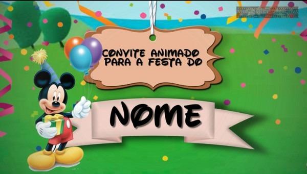 Convite Animado Mickey Mouse No Elo7