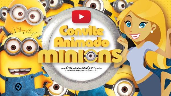 Convite Animado Virtual Minions Grátis Para Baixar