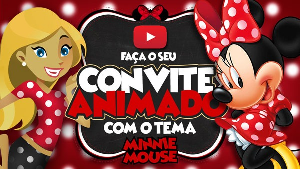 Convite Animado Virtual Minnie Vermelha Grátis Para Baixar