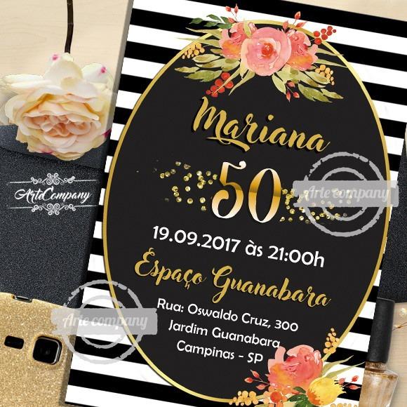 Convite Aniversário 50 Anos Digital No Elo7
