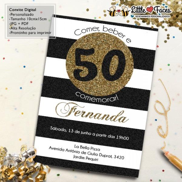 Convite Aniversário 50 Anos