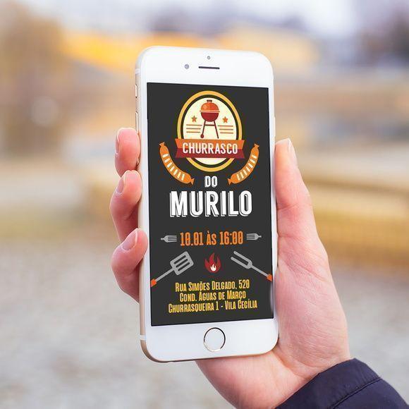 Convite Digital Churrasco Aniversário Adulto Whatsapp Mod4