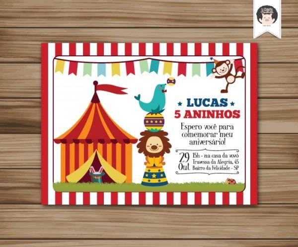 Convite Aniversario De Circo P  Imprimir No Elo7