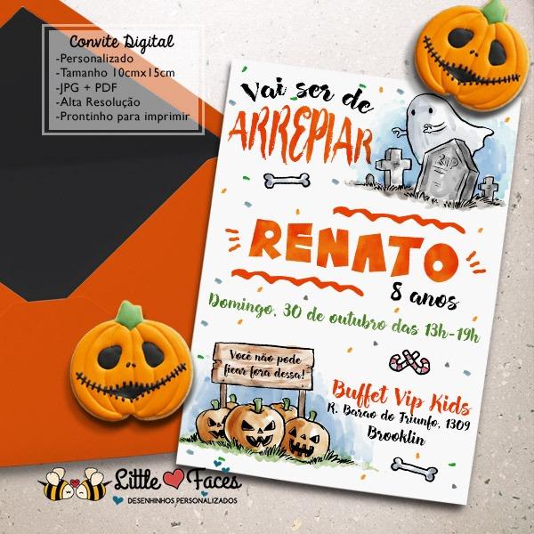 Convite Aniversário Festa Halloween No Elo7