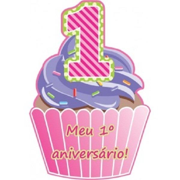 Convite Aniversário Infantil Menina Rosa 1 Aninho Kit Com 40
