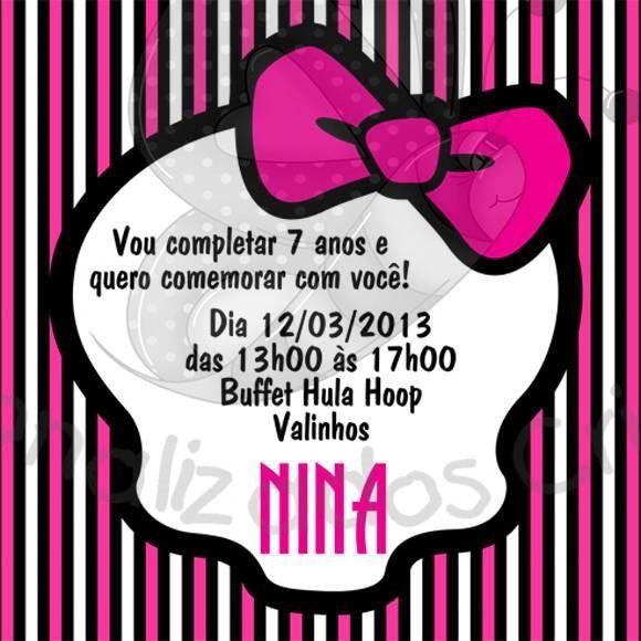 Convite De Aniversario Rapariga