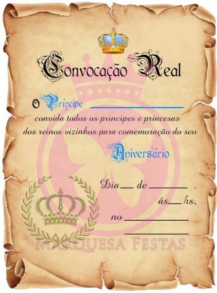 Convite Aniversário Pergaminho Realeza Príncipe C 50