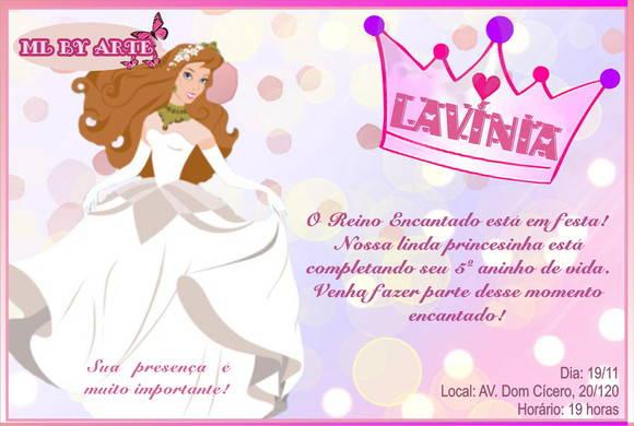 Convite Aniversário Princesa No Elo7