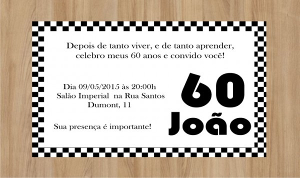 Convite 60 Anos 10x7cm No Elo7