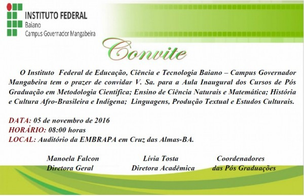 Campus Governador Mangabeira » Convite – Aula Inaugural Dos Cursos