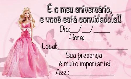 Convite De AniversÁrio Da Barbie