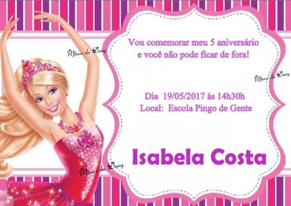 Convite Barbie No Elo7