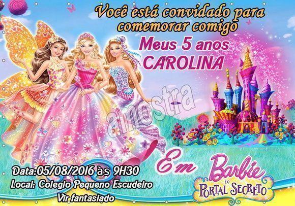 Convite Barbie E O Portal Secreto