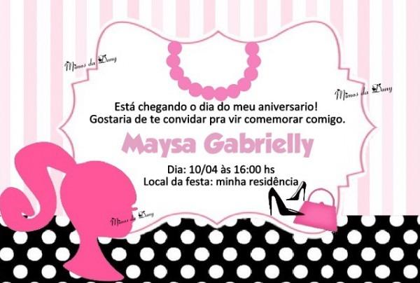 Convite Barbie Paris No Elo7
