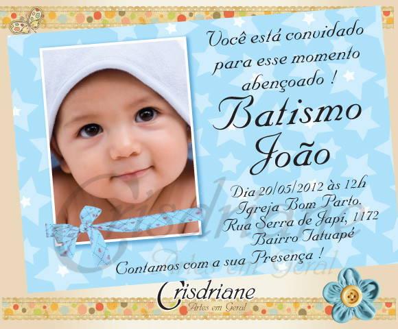 Convite Batizado Azul No Elo7