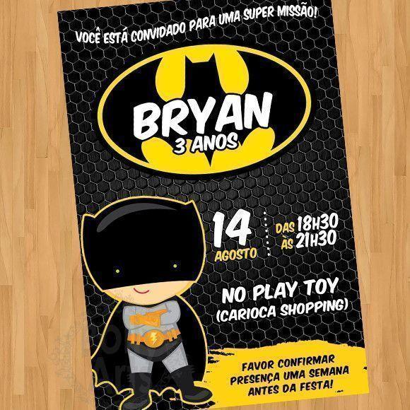 Convite Batman Baby Cute Criança Arte Digital Virtual