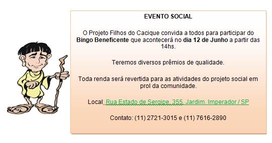 Evento Social – Bingo Beneficente Dia 12 06