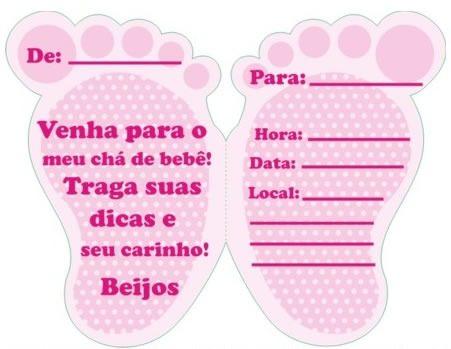 Convite Cha Bebe Pezinho Rosa (10 Convites)